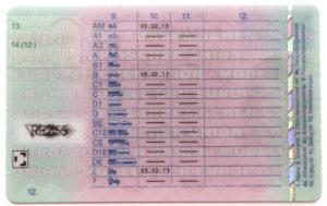 Rückseite eines Führerscheins