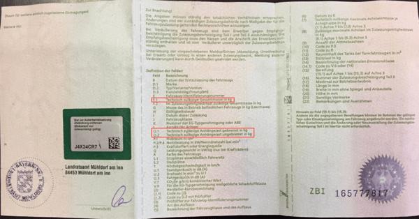Fahrzeugschein Zulassungsbescheinigung Teil 1 zulässige Gesamtmasse zulässige Anhängelas