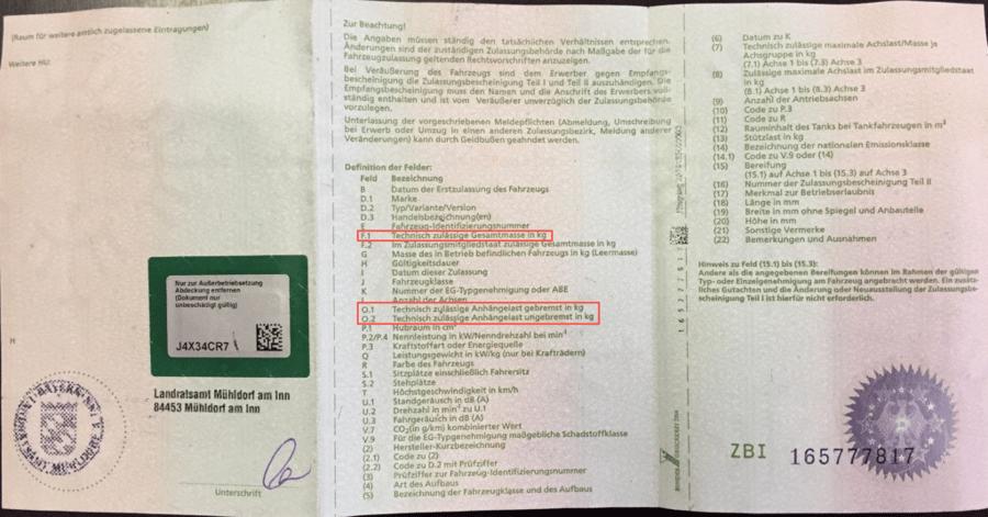 Fahrzeugschein Zulassungsbescheinigung Teil 1 zulässige Gesamtmasse zulässige Anhängelast