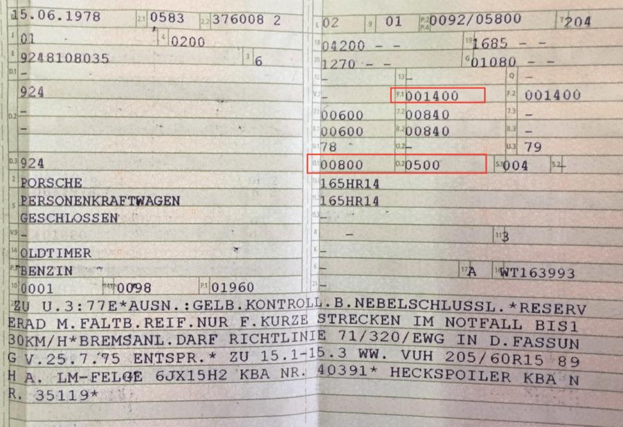 Zulassungsbescheinigung Teil 1, früher auch Fahrzeugschein mit Markierung bei zulässige Gesamtmasse F.1 und zulässige Anhängelast O.1 (gebremst) O.2 (ungebremst).