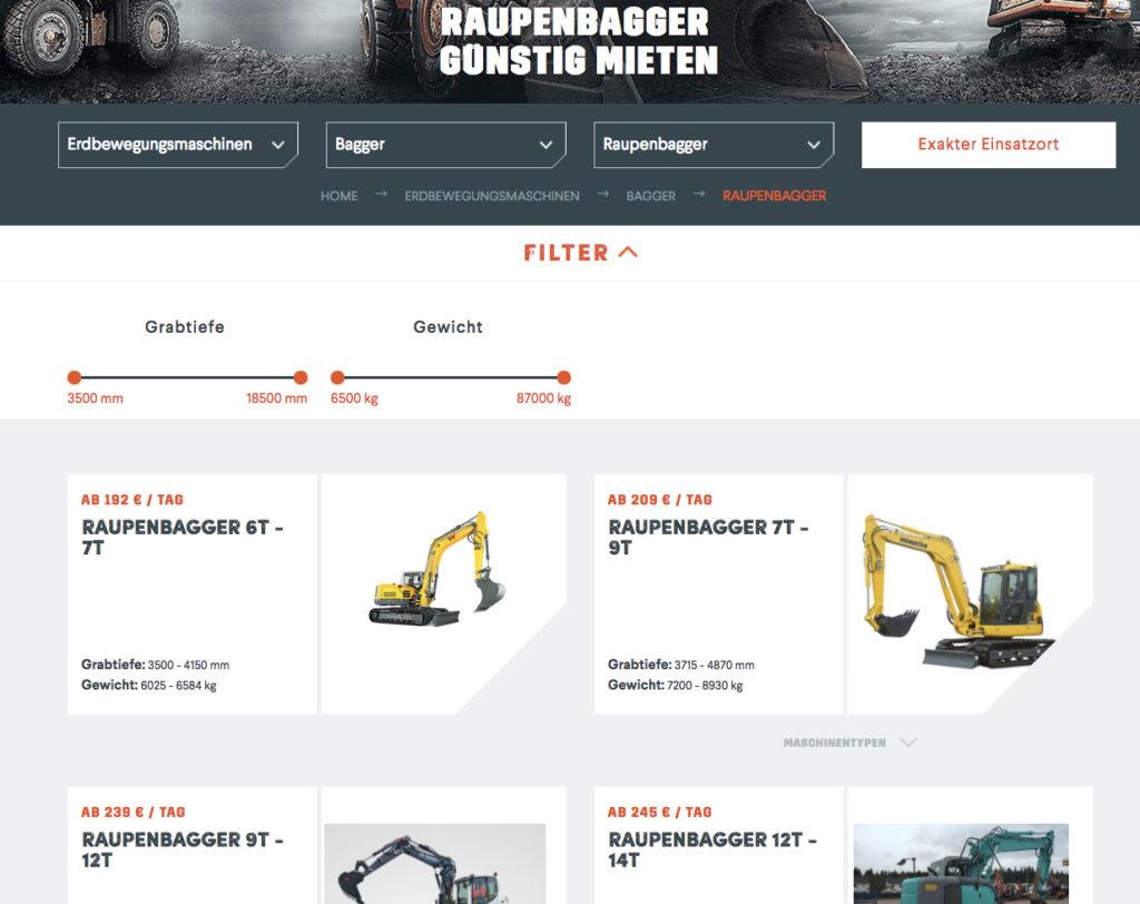 Mit dem neuen Design von klarx einfach und günstig Baumaschinen mieten.