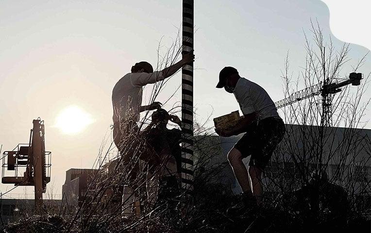 Nicklas und Sven stellen vor dem Logistikzentrum von klarx einen Maibaum auf