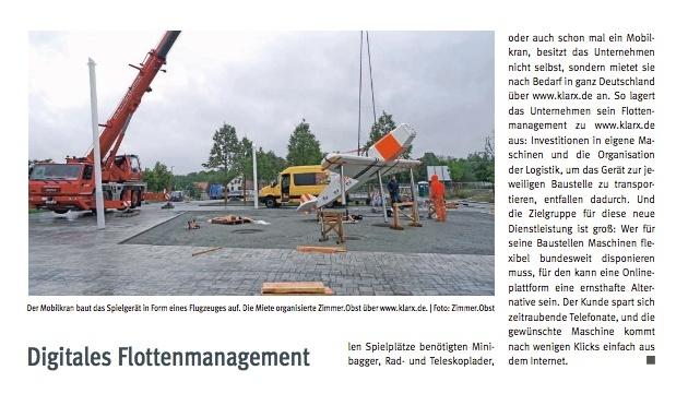 Das B_I Baumagazin berichtet über klarx und die digitale Miete von Baumaschinen, so kann ein Mobilkran einfach deutschlandweit gemietet werden.